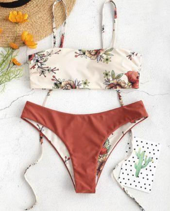 ZAFUL Floral Tie Reversible Bikini Set