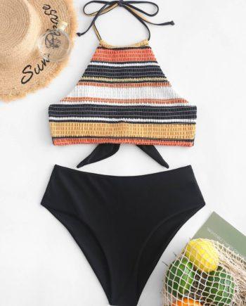 ZAFUL Striped Halter Smocked Tankini Swimsuit