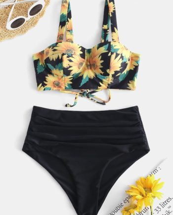 ZAFUL Sunflower Moulded Tummy Control Push Up Bikini Swimsuit