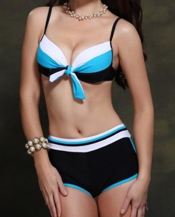 Active Color Block Spaghetti Strap Women's Bikini Set