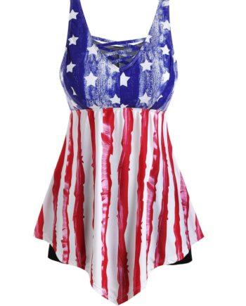 American Flag Contrast Lattice Plus Size Tankini Swimsuit
