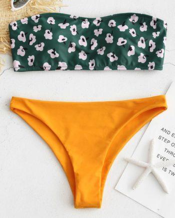 Bandeau Contrast Print Bikini Set