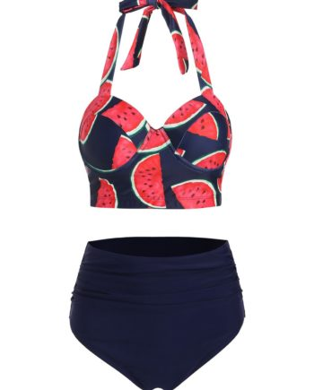 Watermelon Print Halter Bikini Set