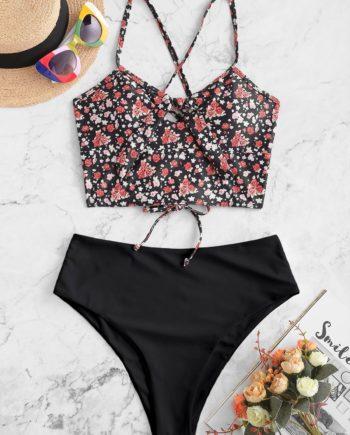 ZAFUL Ditsy Print Keyhole Tied Lace Up Tankini Swimsuit