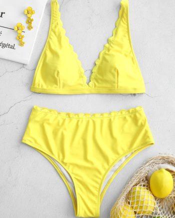 ZAFUL High Waisted Scalloped Bikini Set