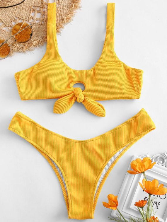 ZAFUL Knot Textured Ribbed Bikini Set