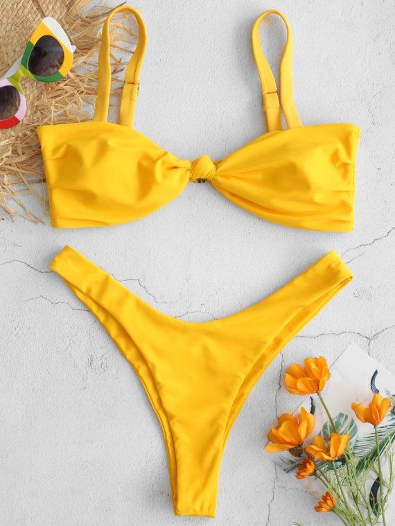 ZAFUL Knotted Ruched High Leg Bikini Set