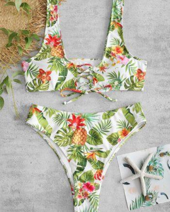 ZAFUL Pineapple Flower Lace Up Bikini Set