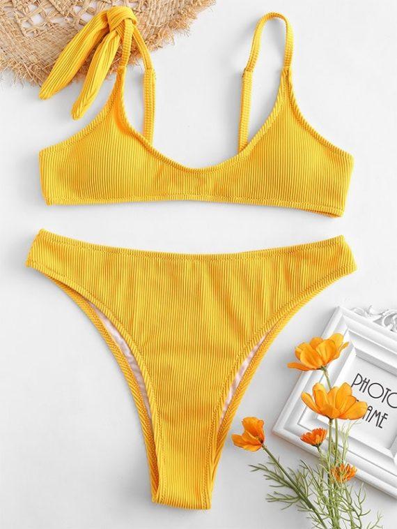 ZAFUL Textured Ribbed High Waisted Bikini Set