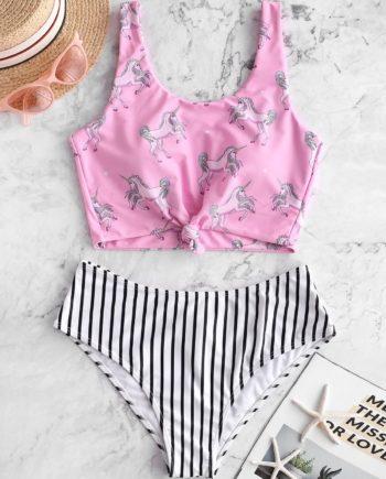 ZAFUL Unicorn Striped Knotted Mix and Match Tankini Swimsuit