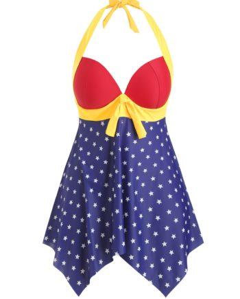 American Flag Halter Handkerchief Plus Size Tankini Swimsuit