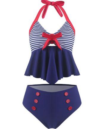 Bowknot Striped Halter Vintage Tankini Swimsuit