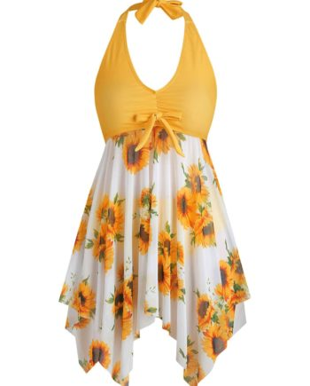 Bowknot Sunflower Floral Butterfly Plus Size Tankini Set