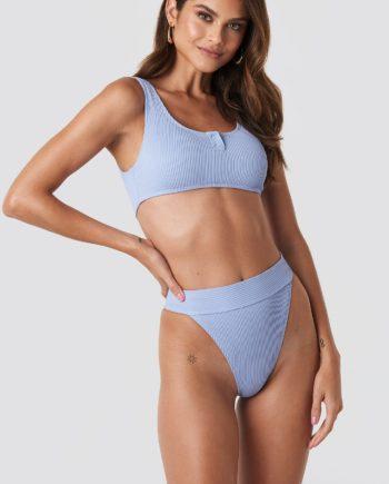 Gerda x NA-KD Ribbed High Waist Bikini Bottom - Blue