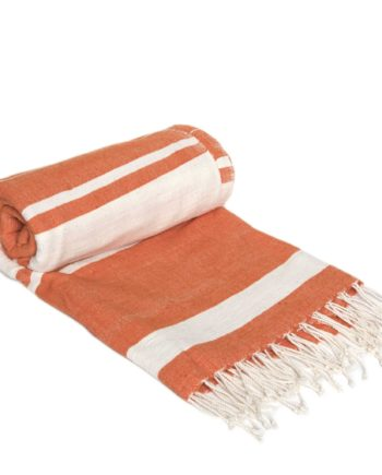 Gestreiftes Strandtuch aus Baumwolle in Orange, Off White