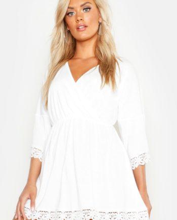 Womens Plus Strandkleid mit Häkelspitze - Weiß - 56, Weiß