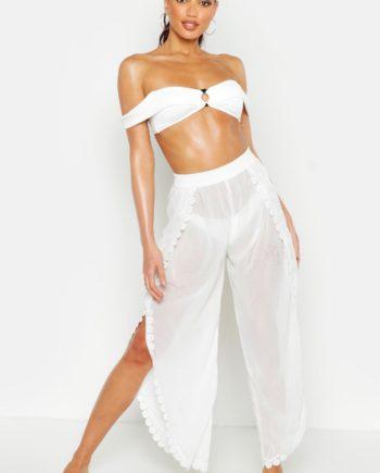 Womens Strandhose mit Beinschlitz und Spitzendetail - Weiß - S, Weiß