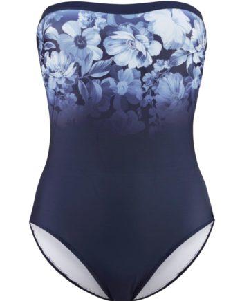 Bandeau-Badeanzug, Alba Moda in blau blume