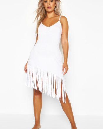 Womens Plus Strandkleid mit Fransen und Trägern - Weiß - 52, Weiß