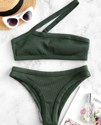 ZAFUL Einziger Schulter Strukturierter Gewellter Bikini-Badeanzug
