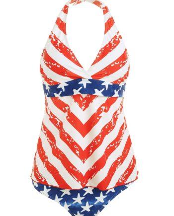 American Flag Halter Tankini Set