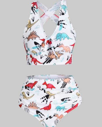 Cartoon Dinosaur Print Ruched Padded Tankini Set