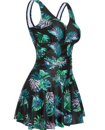 Leaf Print Ruched Skirted Tankini Swimwear
