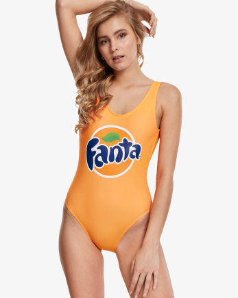 Merchcode Frauen Badeanzug Ladies Fanta Logo in orange