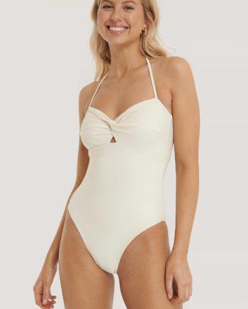 NA-KD Swimwear Badeanzug Mit Gedrehten Trägern - Offwhite