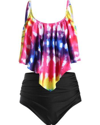 Plus Size Tie Dye Flounce High Waisted Tankini Swimwear