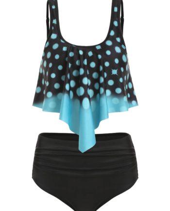 Polka Dot Overlay Ruched Tankini Swimsuit