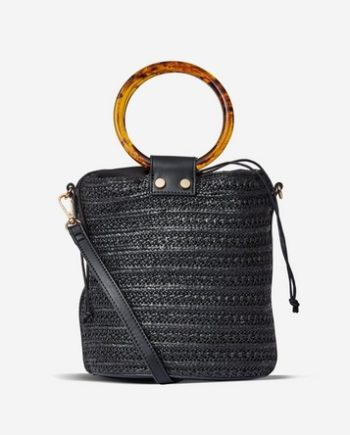 Schwarze Strandtasche mit Ring in Schildpattoptik