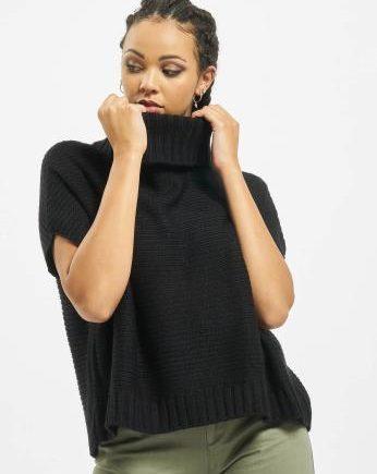 Urban Classics Frauen Strickjacke Knitted Poncho in schwarz