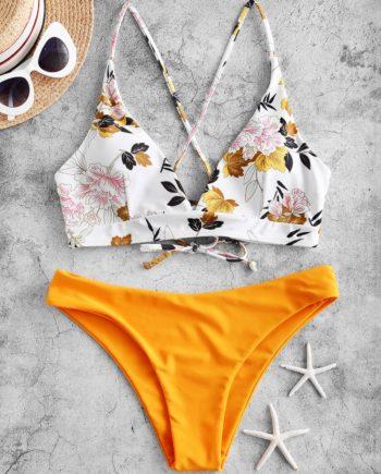 ZAFUL Blumen Blatt Kreuzer und Querer Bikini Bademode mit Schnürung