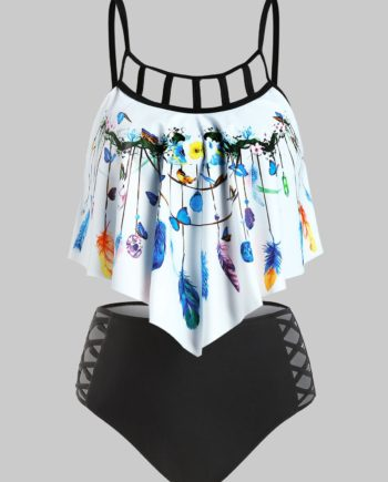 Butterfly and Feather Print Criss-cross Tankini Set