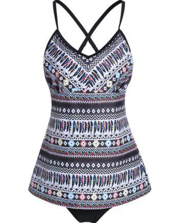 Ethnic Geometric Print Padded Tankini Swimwear