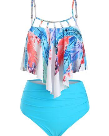 Feather Print Flounce Beading Embellished Tankini Swimsuit
