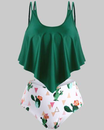 Floral Cactus Print Overlay Flounces Plus Size Tankini Swimwear