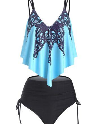 Flounce Overlay Cinched High Waisted Tankini Swimwear