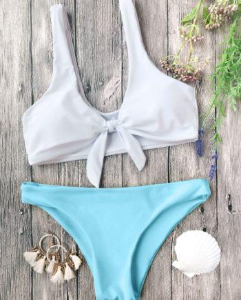 Gepolsterte Knoten Bralette Bikini Set