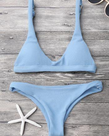 Gepolstertes Scoop-Bikini-Set mit Niedriger Taille