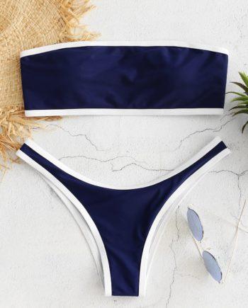 Kontrast Trim Bandeau Bikini-Set