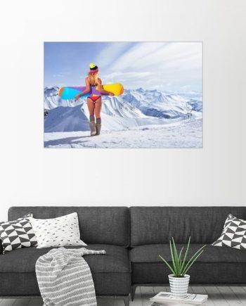 Posterlounge Wandbild, Acrylglasbild Mit dem Bikini im Schnee