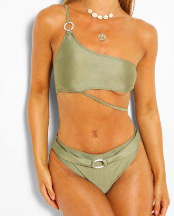 Womens Asymmetrischer High-Waist Bikini Mit Ring - Khaki - 36, Khaki