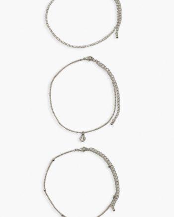 Womens Fußkettchen Mit Muschel Und Kette, 3Er-Pack - Silver - One Size, Silver