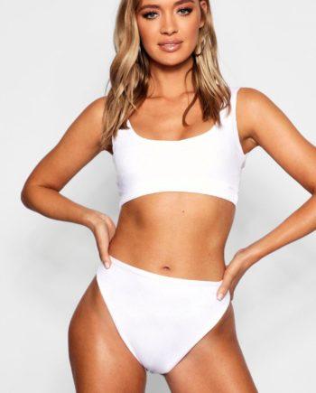 Womens Mix And Match Gerippte, Kurze Bikinis Oberteil - Weiß - 36, Weiß