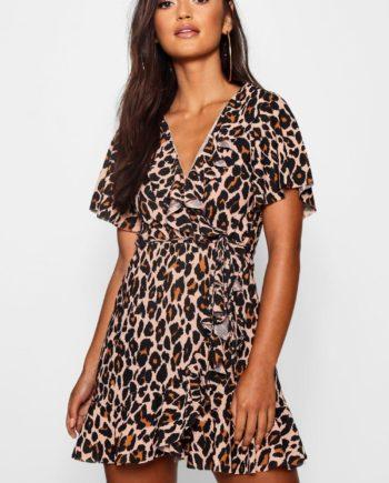 Womens Petite - Sommerkleid Mit Wickeldesign Und Rüschen In Leopardenmuster - 34, Leopard