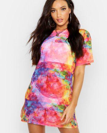 Womens Regenbogenfarbenes Strandkleid Aus Netzstoff In Batik-Optik - Mehrfarbig - L, Mehrfarbig