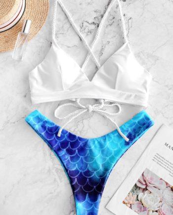 ZAFUL Bikini-Badeanzug mit Hohem Schnitt und Schnürung für Meerjungfrauen
