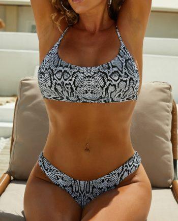 ZAFUL Tierdruck Camo Bikini Badebekleidung mit Hohem Schnitt